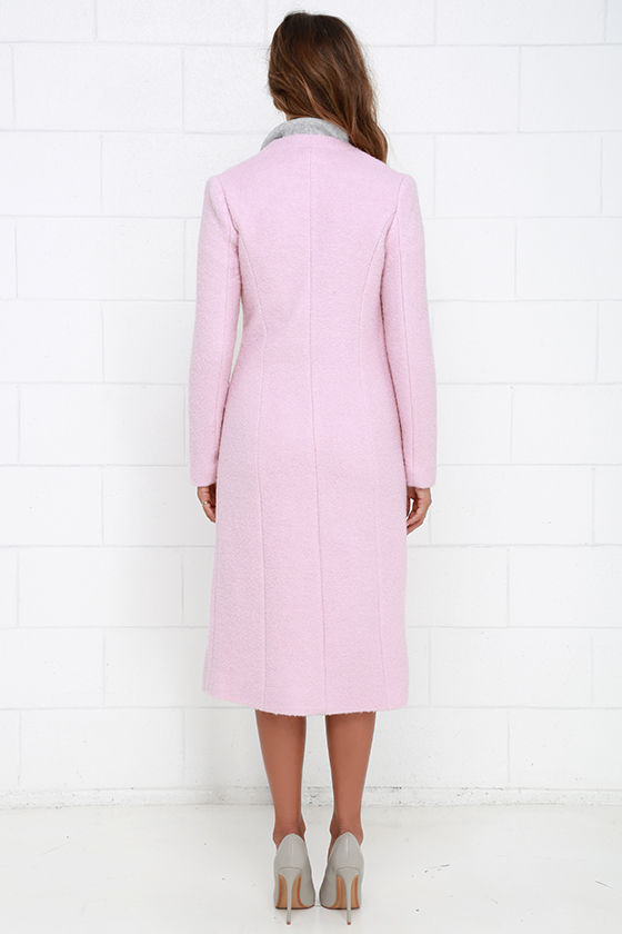 light pink coat light pink coat wool coat collarless coat coat 948