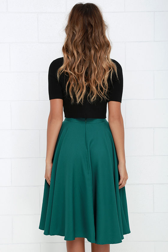 Chic Dark Teal Skirt - Midi Skirt - High-Waisted Skirt - $41.00