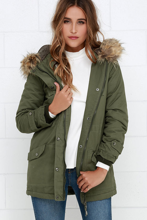Olive Green Jacket - Faux Fur Jacket - Parka Jacket - Coat - $88.00