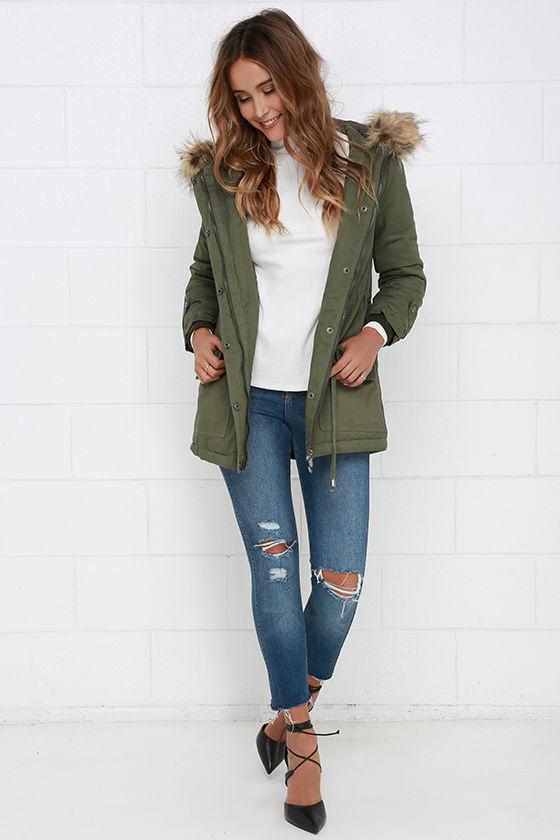 Olive Green Jacket - Faux Fur Jacket - Parka Jacket - Coat - $88.00