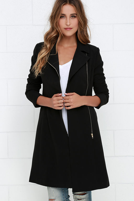Black Coat - Zipper Jacket - Woven Coat - $81.00