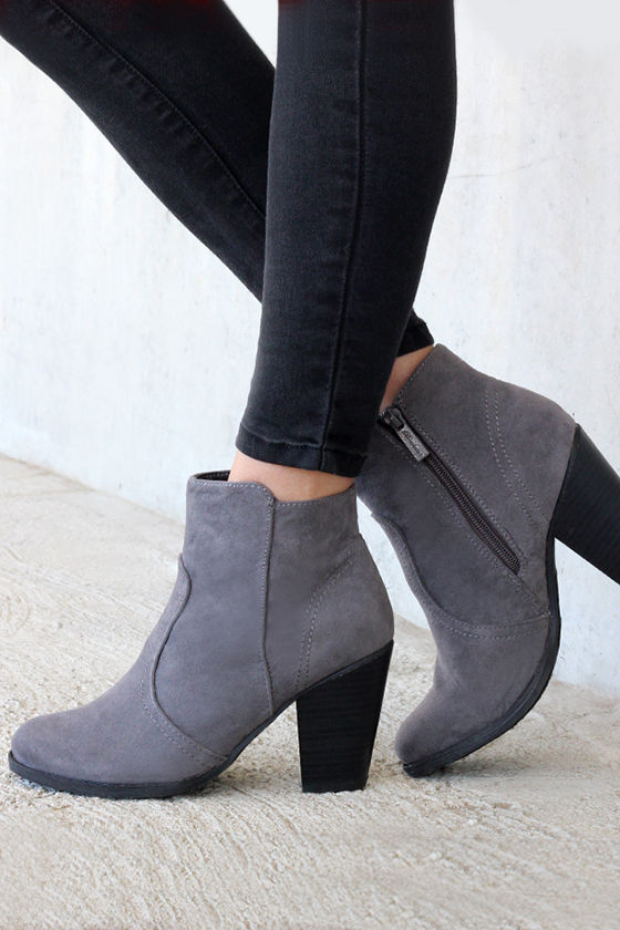 Cute Grey Boots - Suede Boots - Ankle Boots - Booties - $34.00