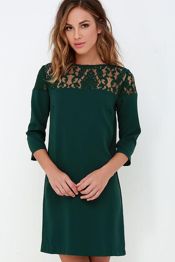 BB Dakota Keagan - Dark Green Dress - Lace Dress - Shift ...