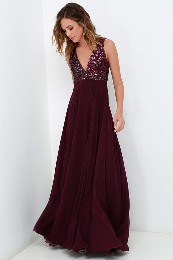 Dress the Population Julia - Plum Purple Dress - Sequin Gown ...