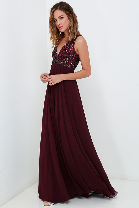 c3a4395eb Dress the Population Julia - Plum Purple Dress - Sequin Gown - Maxi ...
