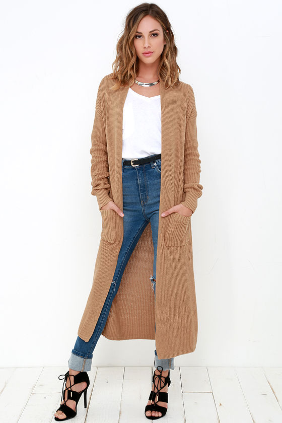 Tan Sweater - Long Sweater - Cardigan Sweater - $64.00