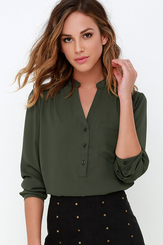 af8a5aa3886 Cute Olive Green Top - Long Sleeve Top - Olive Green Blouse -  37.00