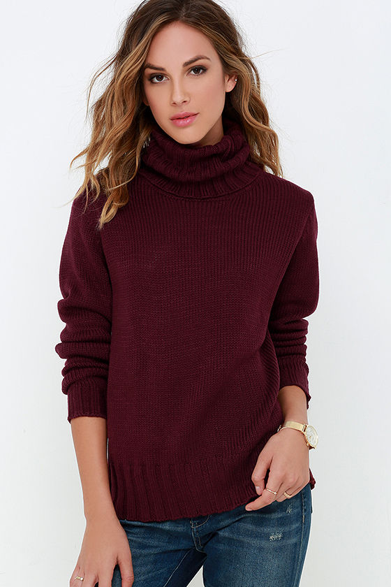 Burgundy Sweater - Turtleneck Sweater - Long Sleeve Top - $46.00