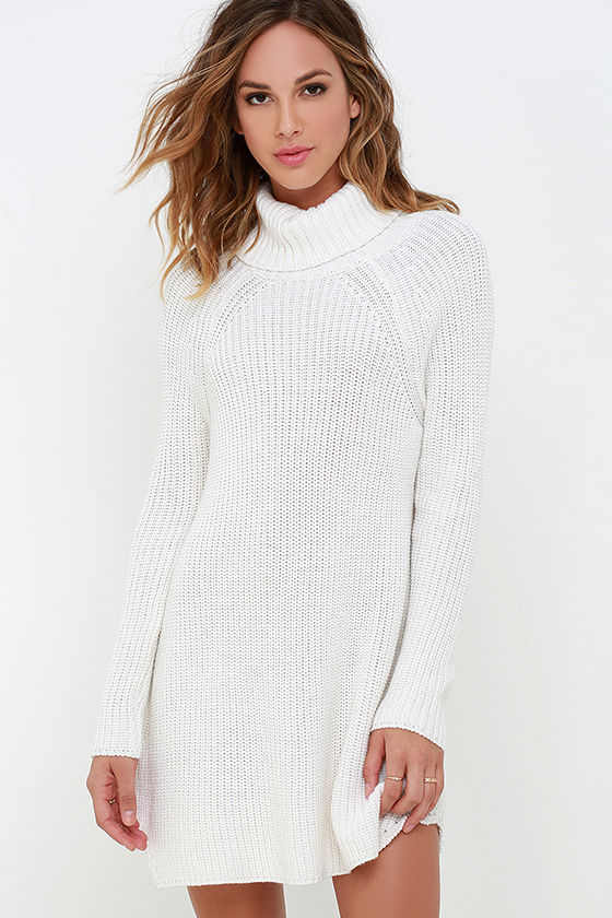 2fd0bed319a9 Ivory Dress - Sweater Dress - Long Sleeve Dress -  69.00