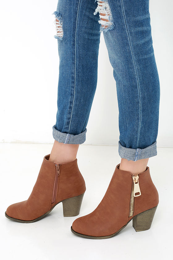 82c9181581f9 Cute Cognac Boots - High Heel Boots - Ankle Boots -  38.00