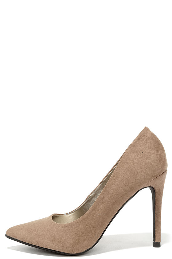 b5c763c48376e Lovely Taupe Heels - Vegan Suede Pumps - Pointed Pumps - $26.00