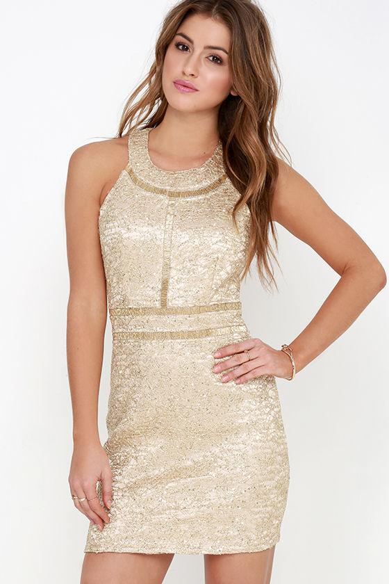 Gold Dress - Bodycon Dress - Sequin Dress - Beaded Dress - $97.00