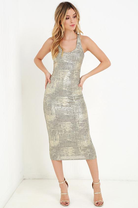 b6b3165b Sexy Gold Dress - Midi Dress- Racerback Dress - Bodycon Dress - $48.00