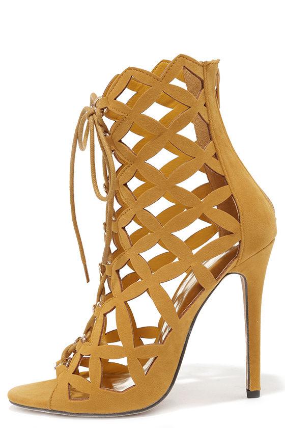 Sexy Mustard Yellow Heels - Lace-Up Heels - Caged Heels - $47.00