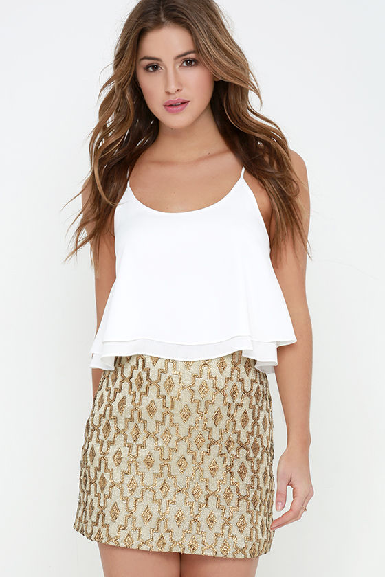 Sequin Skirt - Gold Skirt - Mini Skirt - Print Skirt - $75.00