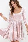 Cute Blush Pink Dress - Velvet Dress - Skater Dress -  56.00 69a04deb0