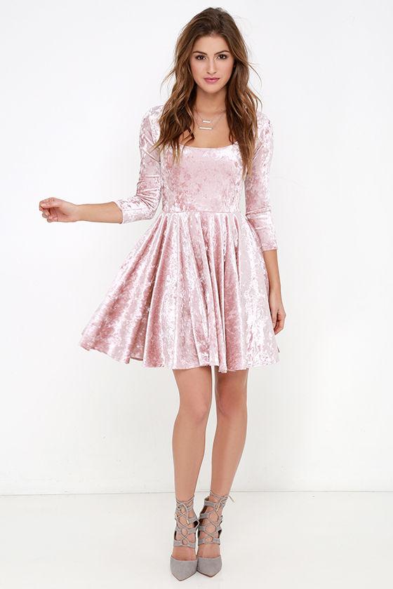 7fcbfe62c9a Cute Blush Pink Dress - Velvet Dress - Skater Dress -  56.00