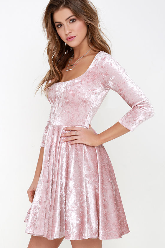 Cute Blush Pink Dress - Velvet Dress - Skater Dress - $56.00