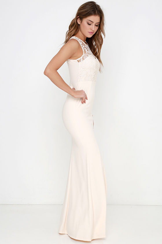 Cream Gown - Lace Dress - Maxi Dress - $78.00