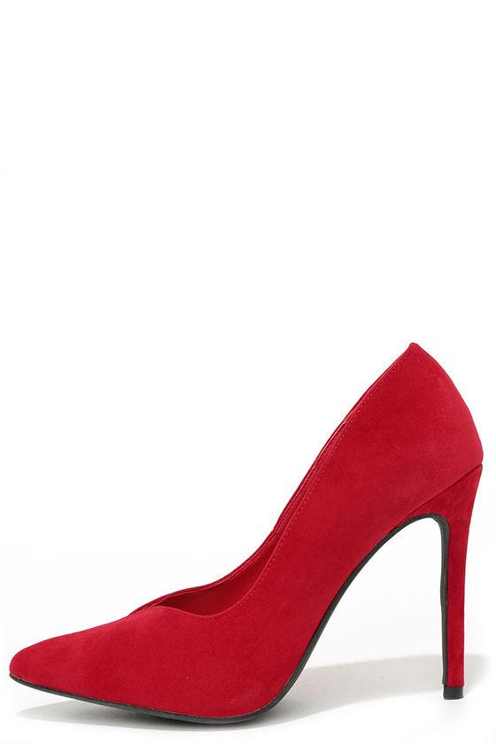 d57672d9e437 Cute Velvet Pumps - Red Pumps - Velvet Heels -  59.00