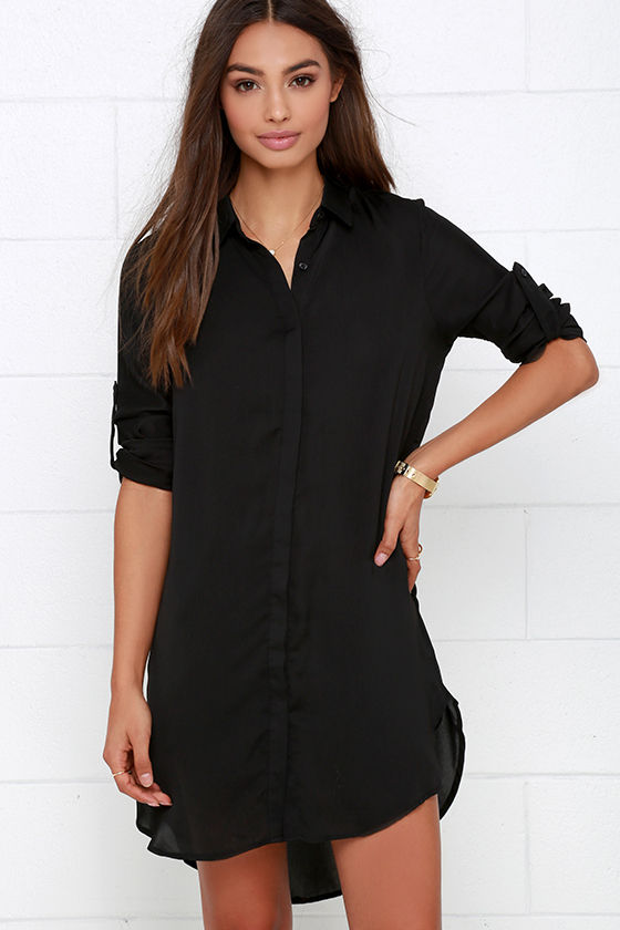 909426124370 Long sleeves with button tabs hang at each side of the straight-cut bodice  that ends in a rounded high-low hem. Telegraph Route Black Shirt Dress ...