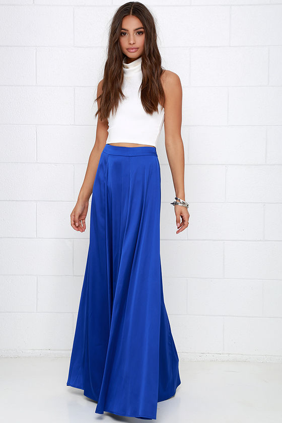 Cobalt Blue Skirt - Maxi Skirt - High-Waisted Skirt - Satin Skirt ...