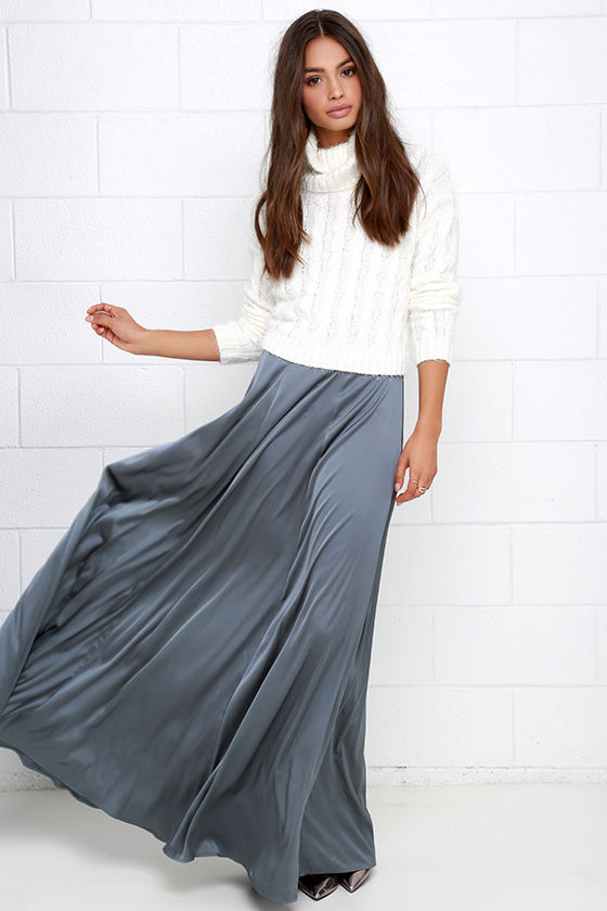 Grey Skirt - Maxi Skirt - High-Waisted Skirt - Satin Skirt - $58.00