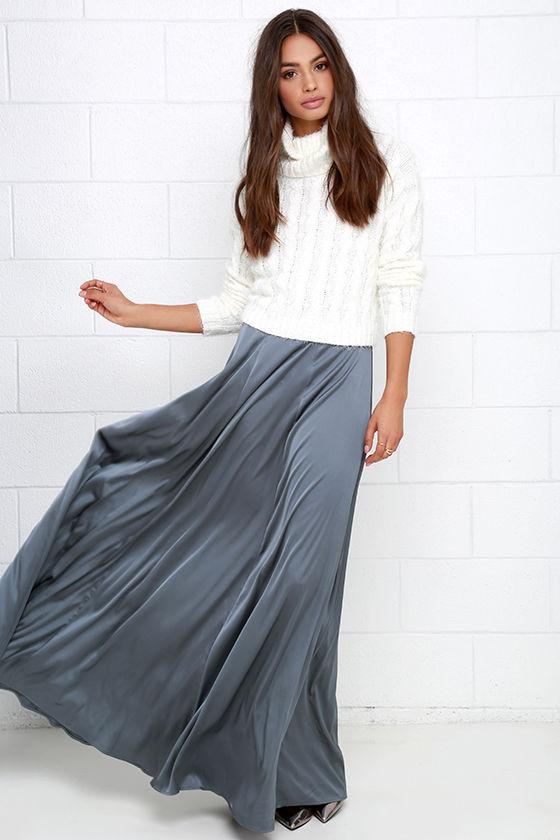 Grey Skirt - Maxi Skirt - High-Waisted Skirt - Satin Skirt - $58.00