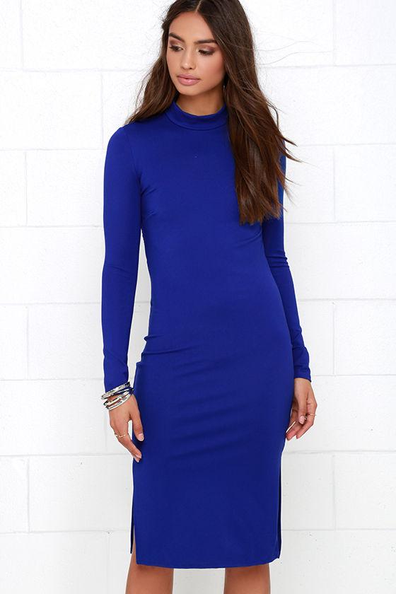 Royal Blue Dress - Backless Dress - Long Sleeve Dress - Midi Dress ...
