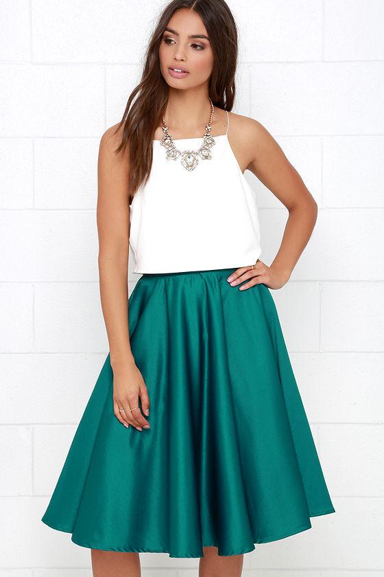533cd7d5d9 Cute Dark Teal Skirt - Midi Skirt - Satin Skirt - Tulle Skirt - $52.00