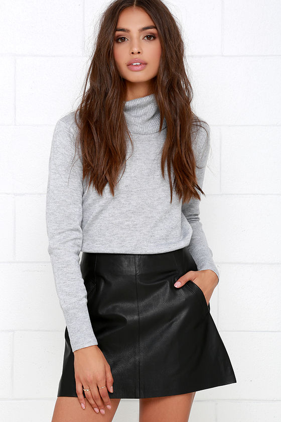 Sexy Black Leather Skirt Genuine Leather Skirt Mini