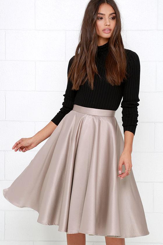 a5c3d819dd8 Cute Taupe Skirt - Midi Skirt - Satin Skirt - Tulle Skirt -  52.00