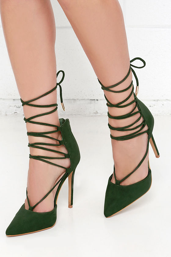 Cute Olive Green Heels - Lace-Up Heels - Caged Heels - $36.00