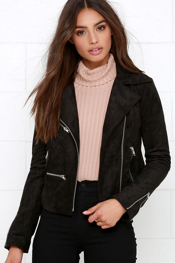 Suede Jacket - Moto Jacket - Black Jacket - $95.00