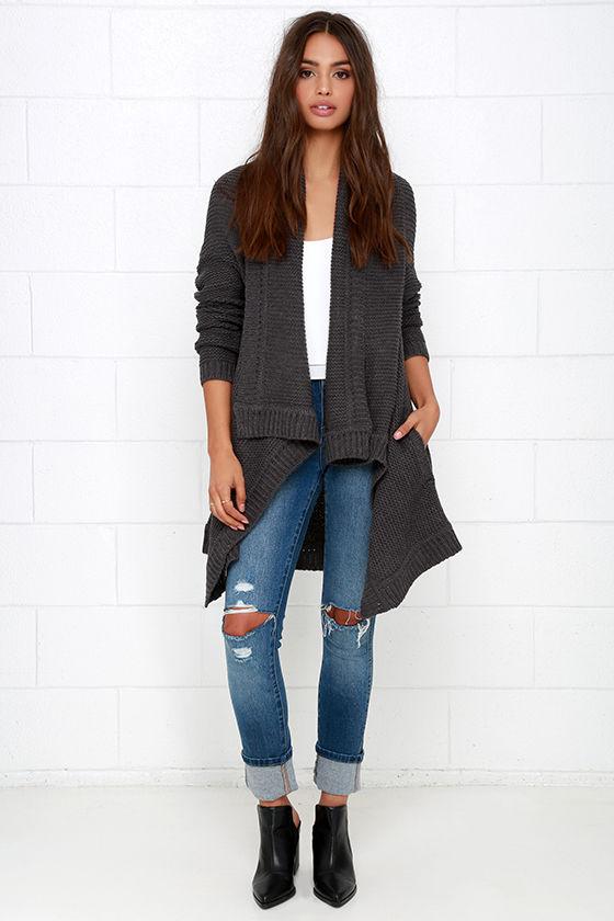 b22c297b817 Cozy Dark Grey Cardigan - Cardigan Sweater - Open Front Cardigan ...