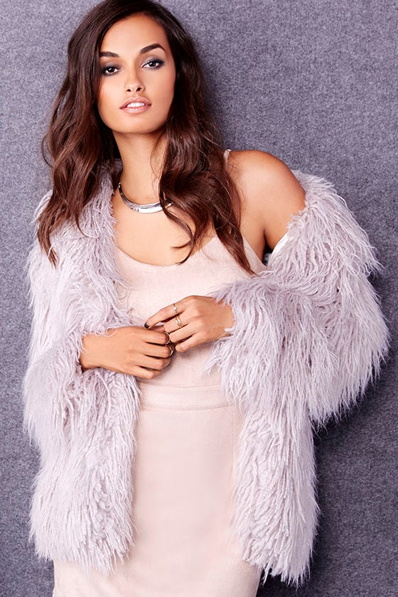 Faux Fur Jacket - Grey Coat - Faux Fur Coat - $119.00