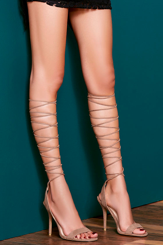 1e91a8d680b10 Chic Taupe Heels - Lace-Up Heels - Leg-Wrap Heels - $24.00
