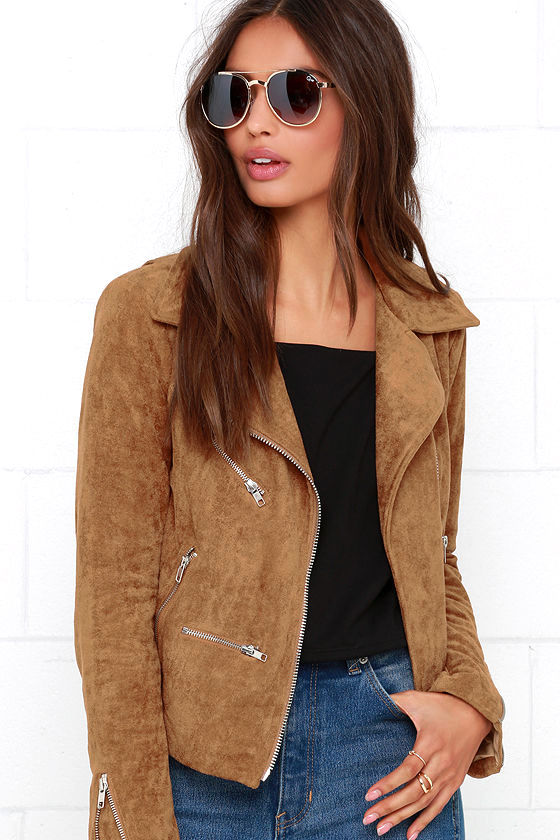 Suede with Love Tan Suede Moto Jacket 1