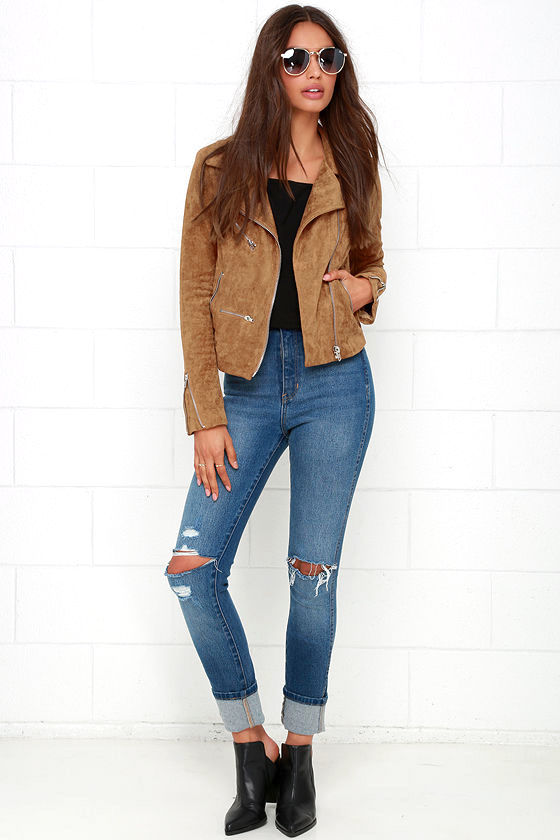 Suede with Love Tan Suede Moto Jacket 4