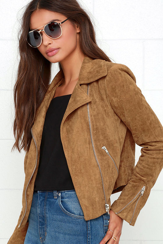 Suede with Love Tan Suede Moto Jacket 5