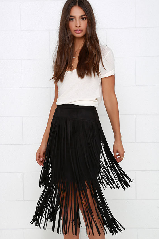 Black Skirt - Fringe Skirt - High-Waisted Skirt - $46.00