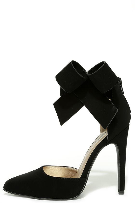 Bow Heels - Black Heels - Black Pumps - Ankle Strap Heels - $38.00