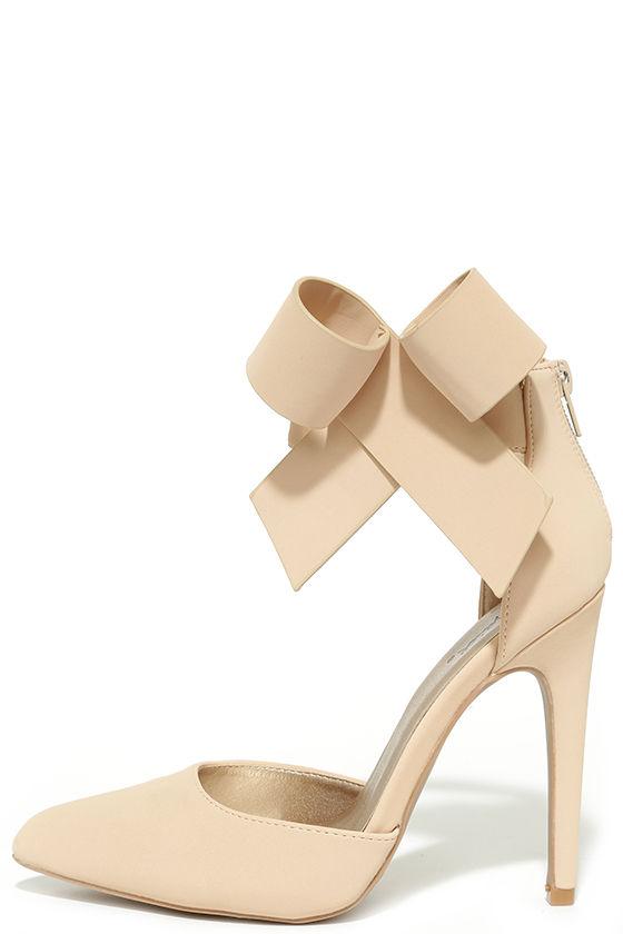 4471413e36d Bow Heels - Nude Heels - Beige Pumps - Ankle Strap Heels -  38.00