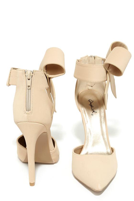 Bow Heels - Nude Heels - Beige Pumps - Ankle Strap Heels - $38.00