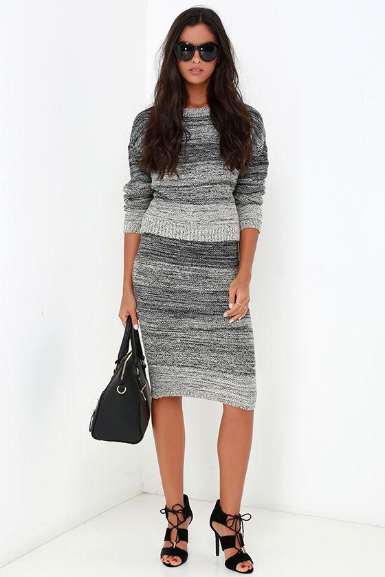 1d3913f8606 Grey Marl Dress - Two-Piece Dress - Midi Dress - Sweater Dress -  120.00