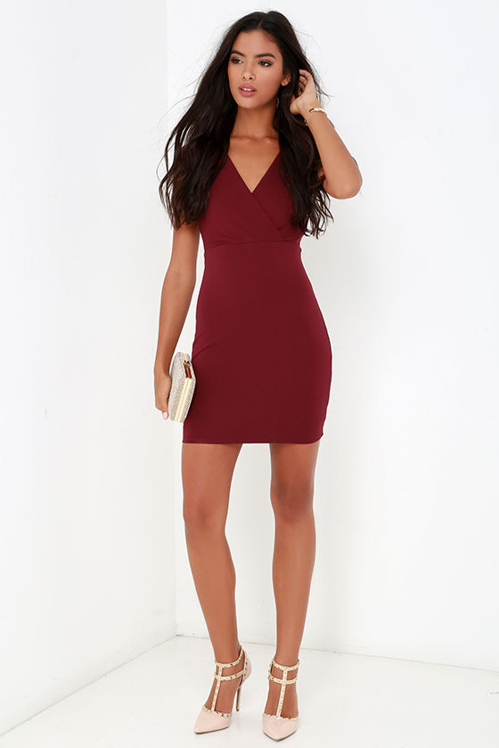 f70aea25fcc Sexy Burgundy Dress - Bodycon Dress - Strappy Dress -  56.00