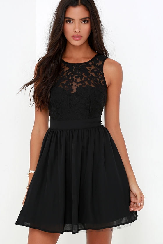 Black Dress - Skater Dress - LBD - Lace Dress - $54.00