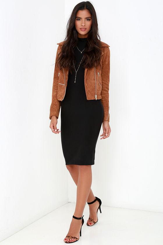 9a167ab637ca Black Bodycon Dress - LBD - Mock Neck Dress - Long Sleeve Dress -  44.00