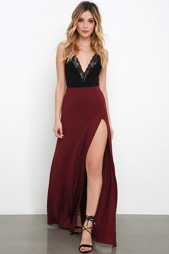Sexy Maroon Skirt - Maxi Skirt - Side-Slit Skirt - $38.00