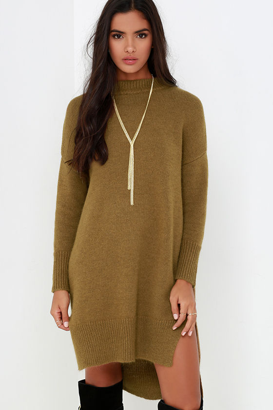 Chic Brown Dress - Sweater Dress - Knit Dress - Long Sleeve Dress ...